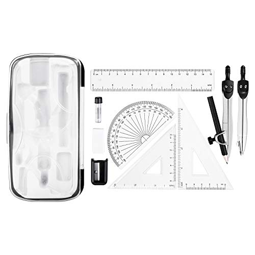 Amazon Basics 10-Piece Math Kit - Includes Compasses, Graphite, Eraser, Sharpener, Protractor, Triangles, Ruler, and Carrying Box