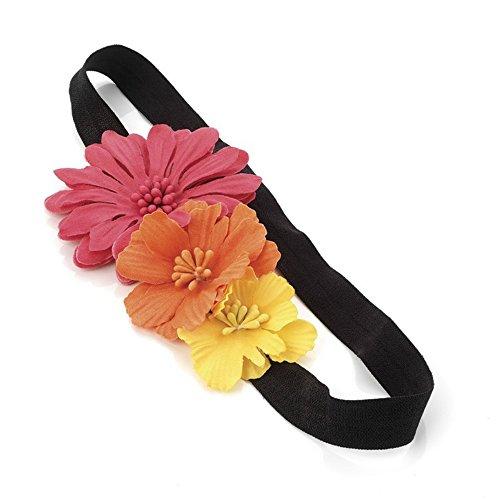 Triple Rose Orange et Jaune Motif de fleur bandeau élastique bande de Front