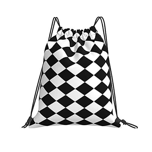 Bolso con Cordón, Bolsa de Poliéster de Almacenamiento Deportivo, Bolso con Cordón para Viajes Deportivos de Gimnasio (Diamante blanco y negro)-42 × 36cm