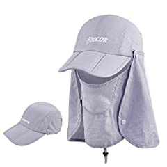LIGHTWEIGHT & QUICK TO DRY: iColor Sun Cap with Windproof Face Mask Visor 360° Sun uv protection Outdoor Flap Hats Sun Caps Lightweight, breathable material for all-day wear,100% Nylon is great for all types of outdoor activities, 360 degree design p...
