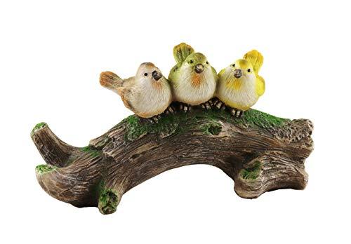 Klp 3 Vögel auf AST Baum Skulptur Paar Deko Spatz Vogel Gruppe Oster Figur Statue
