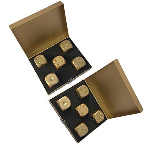 LIUXING-Home Würfelset Hochwertige Aluminiumlegierungs-Würfel-Spiel-Unterhaltung Würfel-Set (2 Sätze) Goldene Boutique-Würfel Magische Tischspiele (Color : Gold, Size : 74X62X18mm)