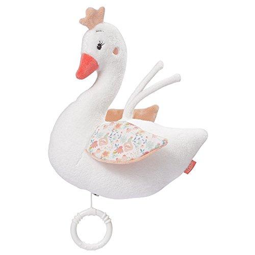 Fehn 062021 Spieluhr Schwan | Aufzieh-Spieluhr mit herausnehmbarem Spielwerk zum Aufhängen, Kuscheln und Greifen | Für Babys und Kleinkinder ab 0+ Monaten