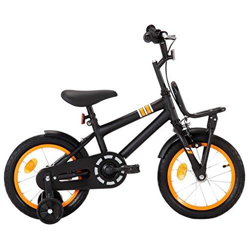 vidaXL Kinderfahrrad mit Frontgepäckträger Höhenverstellbarer Lenker Jungenfahrrad Kinderrad Spielrad Fahrrad Rad für Kinder Junge 14 Zoll Schwarz Orange