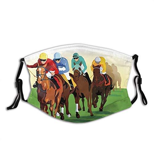 Colorida escena competitiva con jinetes y caballos de carrera, equino, retro, mscara facial a la moda, a prueba de sol, bandana para hombres y mujeres, 1 unidad