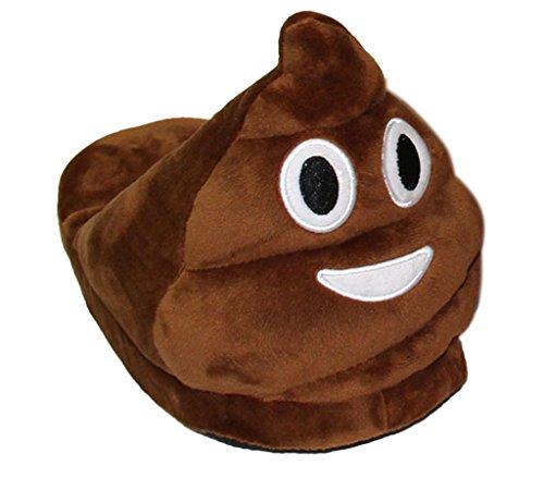 Minetom Unisex Herren und Damen Emoji Hausschuhe Winter Hausschuhe Cartoon Plüsch Hause Pantoffeln Braun EU 42
