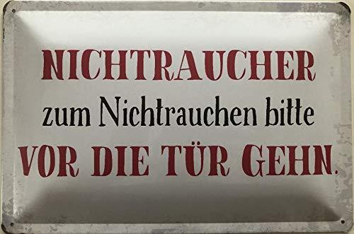 Deko7 blikken bord 30 x 20 cm Spreuk: Niet rokers om niet te roken Gelieve voor de deur gaan