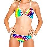 Conjunto de Bikini para Mujer Trajes de baño de 2 Piezas con Estampado Floral, Tinte de Lazo con Remolino de Arco Iris