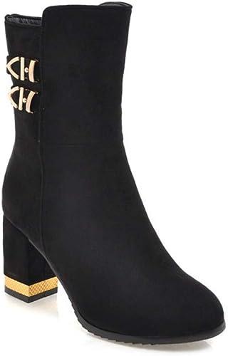 Weibliche dicke Ferse bottes... Boucle de Ceinture Hiver en en en Daim Grande Taille épaisse avec des Chaussures Martin Bottes pour Les Les dames, Noir, 41 f3d