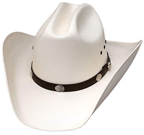 Classic Cattleman Straw Cowboy Hat with Silver Conchos - White - 7 1/8 (22 1/2 inches)
