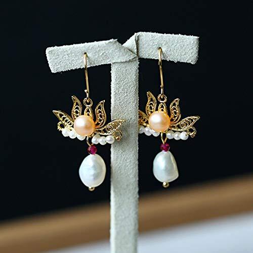 Feng-Shui-Halskette Für Frau Reichtum Lotus Süßwasser-Zuchtperlen Set Kupfer Überzogen 14K Gold Halskette Und Ohrringe Anziehen Glück Geschenk,Earrings
