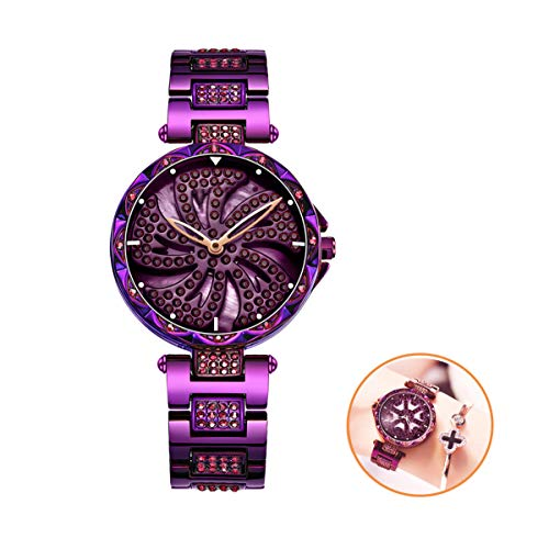 Vrouwen Quartz Horloges Fashion Diamond Glas Spiegel Wijzerplaat Waterdicht Female Horloge Dames Rotating Windmill Stalen Band Horloges, Paars