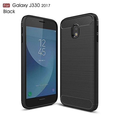 COPHONE Funda Samsung Galaxy J3 2017 J330, Negro Silicona Fundas para Galaxy J3 2017 J3 Pro Carcasa Fibra De Carbono Funda Case