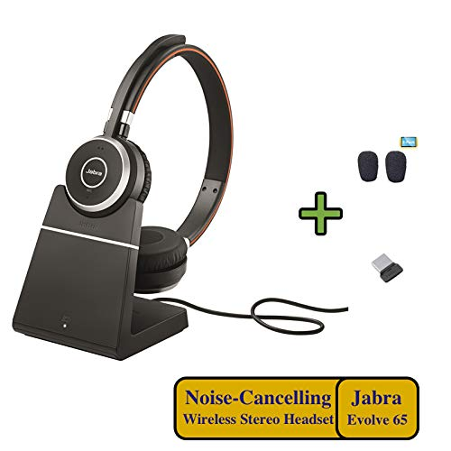 Shopus Jabra Evolve 65 Bluetooth Duo Uc Wireless Headphone Bundle Bonus Mic Cushions Usb Dongle Charging Stand Compatible With Softphones Streaming Music Smartphones Tablets Pc Mac 6599 823 499 B