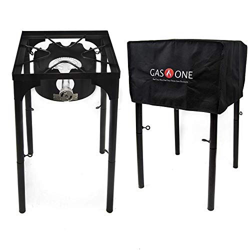 GasOne B-3000H-1+50480 Propane Burner with Cover 100,000-BTU High Pressure Stove, Black Grills Propane