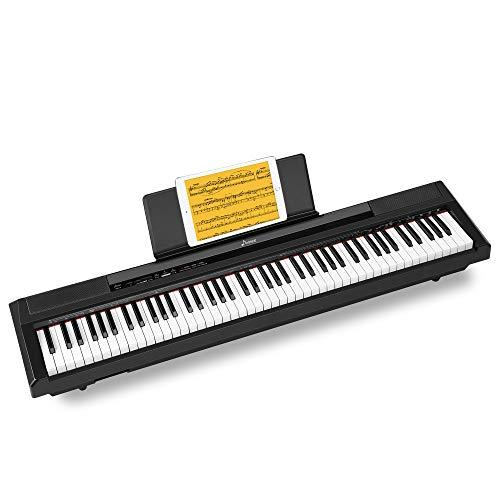 Donner Portatile Pianoforte Digitale 88 Tasti con Pedale, Piano Tastiera Elettrico con Tasti Semi-Pesati Fullsize per Principianti, DEP-10