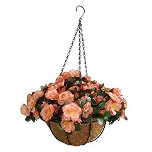 Faux Flowers Azaleas Hanging Basket Champagne Artificial Silk Flowers Rhododendrons