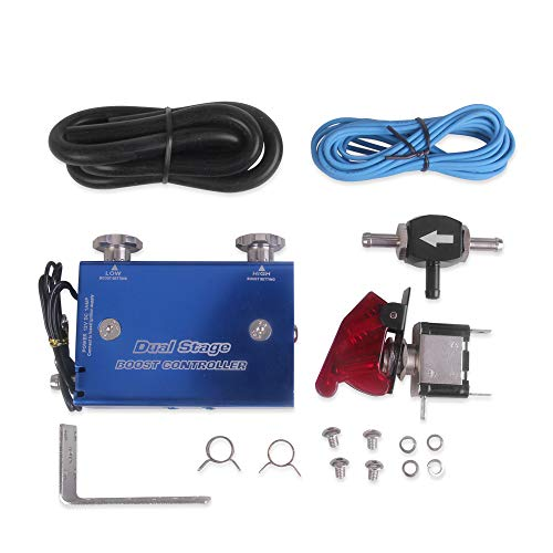 Tickas Dual Stage Electronic Turbo Boost Controller,Dual Stage Electronic Turbo Boost Controller Turbocharger PSI Boost Controller Kit