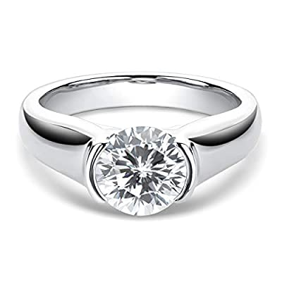 Promise Ring for Her, WOAINI 2 Carat Round Cut Moissanite Sterling Silver Engagement Wedding Ring for Women, Anniversary (4)