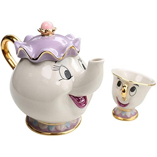 N / B 1 Conjunto de Belleza de Dibujos Animados y la Taza de Tetera de la Bestia, Taza de cerámica de Estilo Europeo y platillo, una Sola Taza, aplicar a la Linda decoración del hogar.