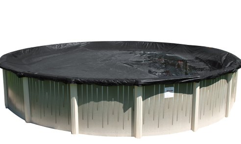 Buffalo Blizzard Deluxe Plus Winter Cover for 24-Foot Round Above-Ground Swimming Pools | Blue/Black Reversible | 4-Foot Additional Material for Secure Installation