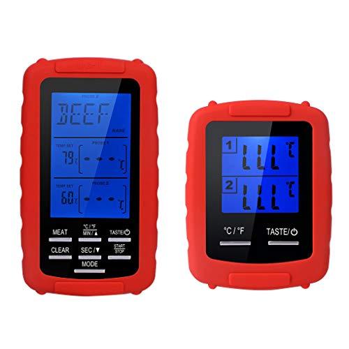 Vokmon Wireless termómetro Digital Meat Impermeable Metro de la Temperatura con 2 sondas para cocinar a la parilla BBQ
