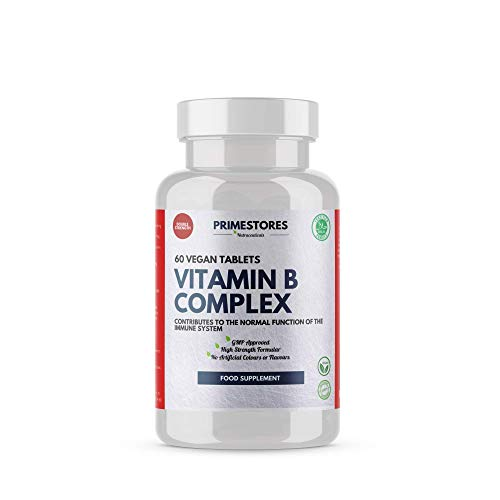 Vitamin B Complex Organic Energy Pills - 60 Vegan Tablets - High Strength Halal Vegetarian Brain Food Health Supplements by Primestores