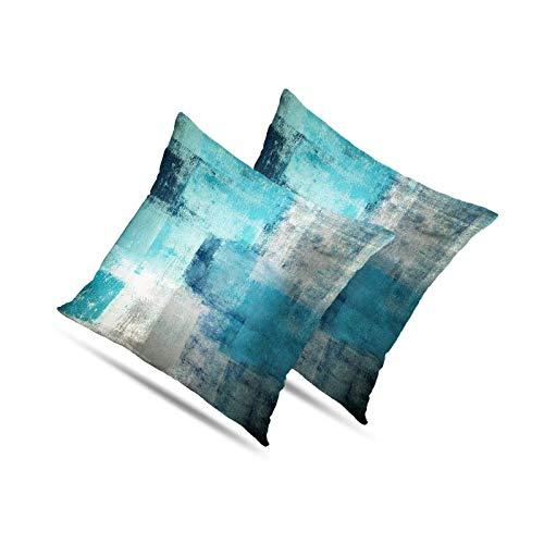 BANGSUN Juego de 2 fundas de almohada turquesa gris arte arte contemporáneo decorativo gris hogar