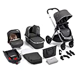 Babymore MeMore 13 Piece Baby Travel System with Baby Stroller Pushchair, Baby Car Seat w/Isofix Base, Carry Cot, Changing Bag, Changing Mat | Ultralight-Weight Aluminium Frame (Chrome Slate)