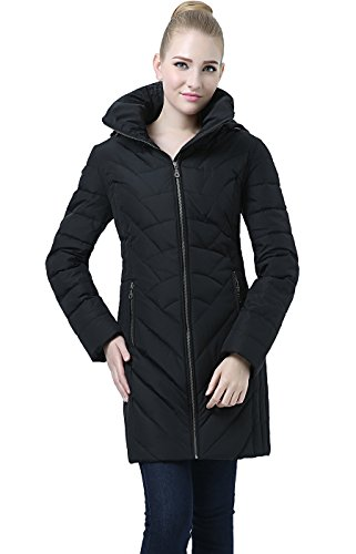 BGSD Women's Eva Hooded Waterproof Down Coat Black Small