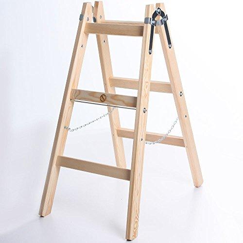 Holzleiter PREMIUM 2x3 Stufen Zweiseitige Klappleiter Leiter Haushaltsleiter 150kg