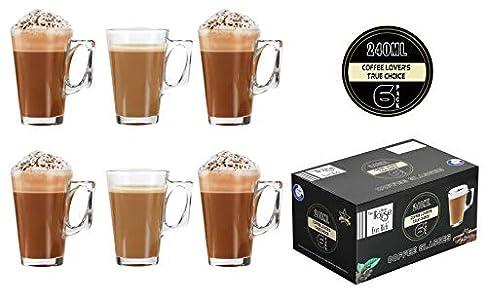 EVER RICH Taza de té café Latte de 240/300 ml (Adecuada para Tassimo y Dolce Gusto) Juego de 4 o 6 Vasos (240ML)