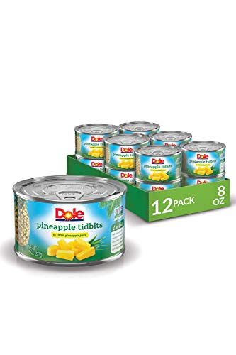 Dole Canned Pineapple Tidbits in Juice, 8 Oz Can, Pack of 12
