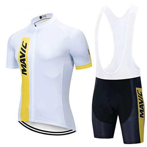 OJKYK Maillot Ciclismo Hombre Ropa Bici Camiseta Manga Corta Chaqueta Transpirable y Shorts Pantalon MTB 9D Gel