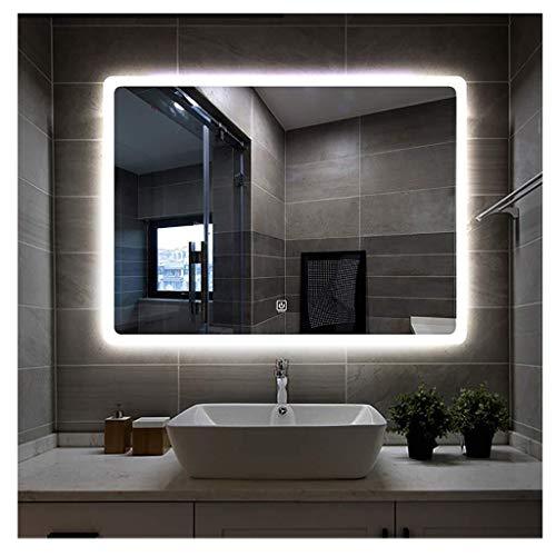 MGEU Led-badkamerspiegel, aan de muur bevestigde splitterspiegel, dimbaar (wit licht/warm licht) met touch-knop, ontneveling, tijd-temperatuurweergave en bluetooth-verbinding