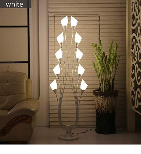 JSJJRFV lámpara de Piso Lámpara de Piso de la Sala Sencilla Mesa de té lámpara de pie de Manera Simple Negro Suelo LED Blanco Dormitorio de la lámpara Cuarto (Lampshade Color : White)