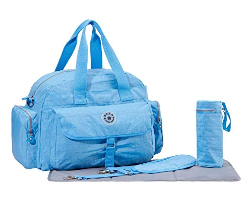 5 PIECE SET — Comes with main diaper bag measuring 11.8 x 14.8 x 6 inches, diaper changing pad, shoulder straps, insulated zipper bottle bag, stroller attachment straps STYLE AND FUNCTION — SoHo's Classics Tote diaper bag is designed for parents with...