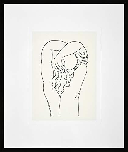 Nielsen Home Bild mit Rahmen 50x60 cm (hoch) - Picasso Hommage 1932 v. Matisse - Kunstdruck - Holzrahmen Schwarz - Premium Poster gerahmt Made in Germany