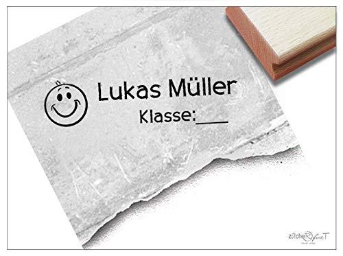 Stempel Individueller Namensstempel Smiley - Stempel personalisiert Name Klasse Schulstempel Geschenk für Kinder Schule Einschulung - zAcheR-fineT