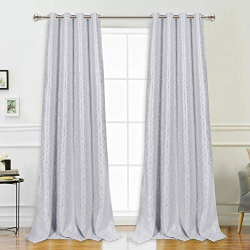 VERTKREA Blackout Window Curtain, Foil Curtain Print, Geometric Room Darkening Thermal Insulated Grommet Window Curtain, Silver Diamond Foil Print Drapes for Room, 2 Panels, 52 x 95 Inches, Light Gray