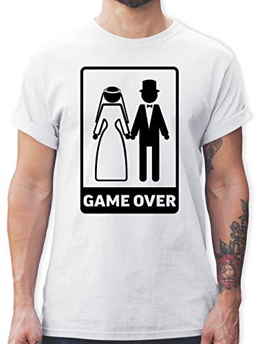 JGA Junggesellenabschied Männer - Game Over - L - Weiß - männer Polterabend - L190 - Tshirt Herren und Männer T-Shirts