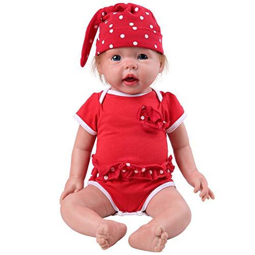 IVITA Ganzkörper Silikon Reborn Baby Puppe mit Haaren Realistische Neugeborenen Baby Puppe Offener Mund Reborn Puppe Baby Blue Eyes Soft Doll Neugeborenes Mädchen Silikon(WG1515-mit Haar-Mädchen)