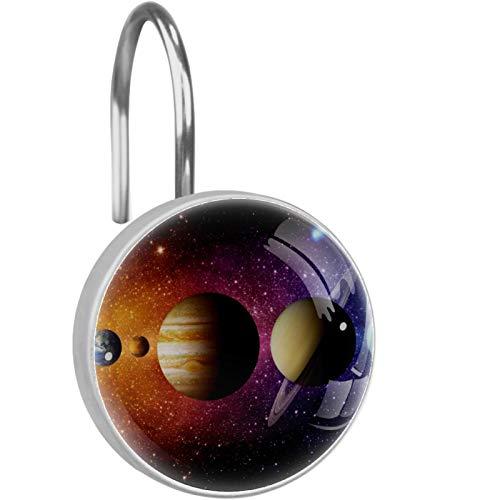 ColorMu Solar System Planet Comet Sun Star Ganchos para Cortinas de Ducha, Ganchos de Ducha Resistentes al óxido Anillos para baño de visitas, baño Principal, Juego de 12