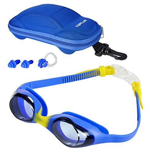 TOPLUS Schwimmbrille Schwimmmaske Kinderbrille, Schutzbrille Kinderschwimmbrille Antibeschlag Auslaufsichere Kinderbrille zum Schwimmen - Unisex Jugend Swimming Goggles mit Tragbare Tasche