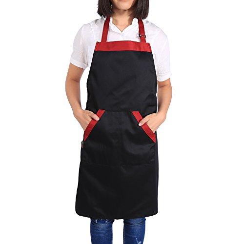 Avental à prova de óleo Avental, vestido de avental, para cozinha masculina e feminina(Vestido preto com bordas vermelhas)