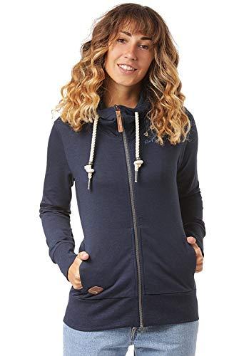Ragwear PAYA Damen,Streetwear,Sweatjacke,Zip Hoodie mit Kapuze und Reißverschluss,vegan,Zwei Taschen,Navy,S