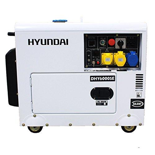 HYUNDAI HY-DHY6000SE Generador Diesel, 5.2 W, 230 V, blanco/negro