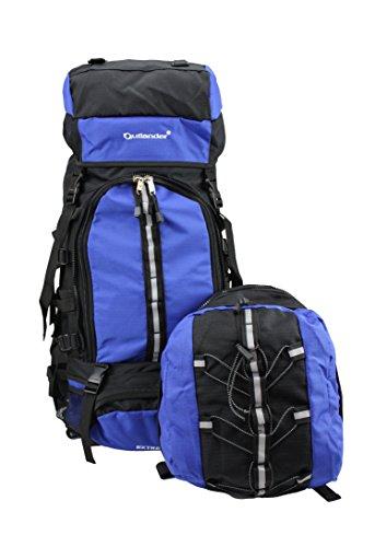 Outlander XXL 80 l Reise Touring Wanderrucksack Trekkingrucksack 2 in 1 mit Daypack blau
