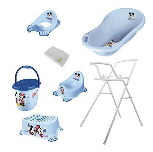 7er Set Micky Maus Badewanne 84 cm + Badewannenständer + Topf + WC Aufsatz + Hocker + Windeleimer + Waschhandschuh