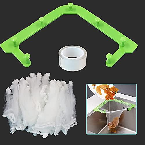 Rejilla de filtro de fregadero de esquina con soporte de triángulo, coladores de fregadero, escurridor de fregadero de cocina con 1 soporte, 1 pegamento nano y 100 piezas bolsa de malla (verde)